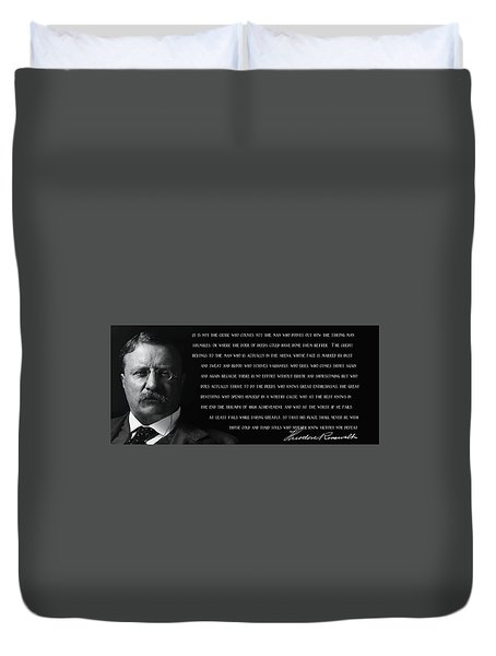 The Man In The Arena - Teddy Roosevelt 1910 Duvet Cover