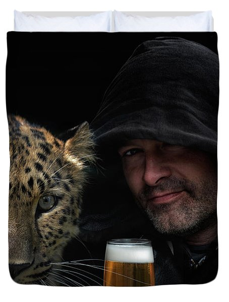 The Man, The Cat And A Beer Duvet Cover