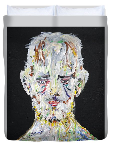 Duvet Cover featuring the painting The Man Who Tried To Become A Mountain by Fabrizio Cassetta