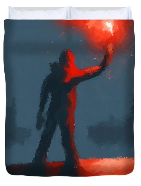 The Man With The Flare Duvet Cover by Pixel  Chimp