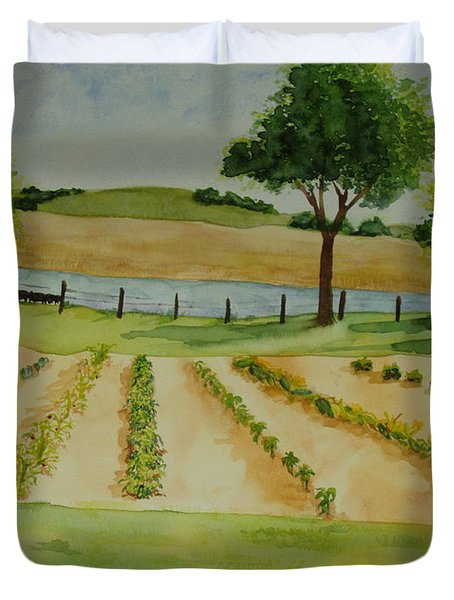 Duvet Cover featuring the painting The Mangan Farm  by Vicki  Housel