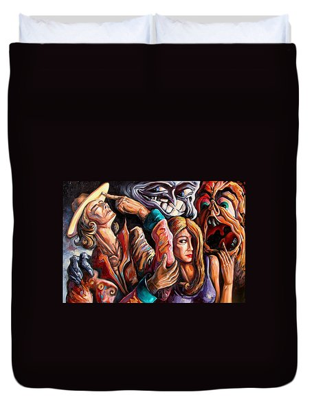 The Manipulation From The Anti-consciousness Monsters Duvet Cover by Darwin Leon