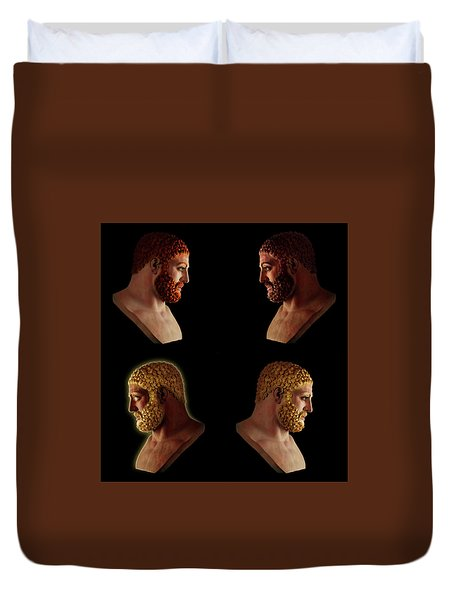 Duvet Cover featuring the mixed media The Many Faces Of Hercules 2 by Shawn Dall