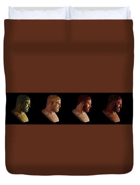 Duvet Cover featuring the mixed media The Many Faces Of Hercules by Shawn Dall
