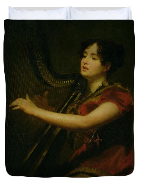 The Marchioness Of Northampton Playing A Harp Duvet Cover