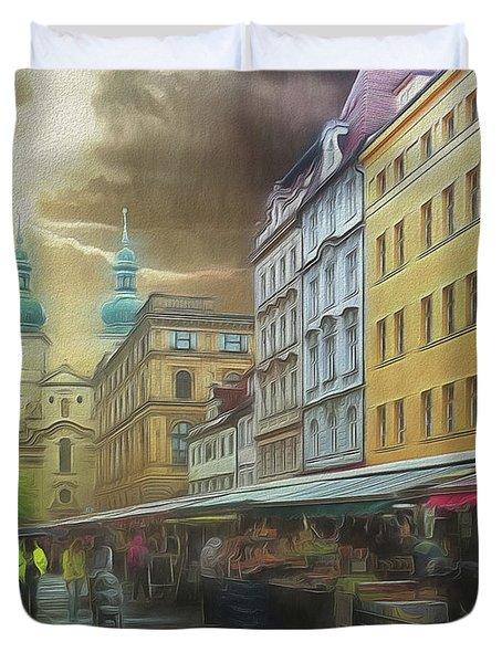 The Market In The Rain Duvet Cover