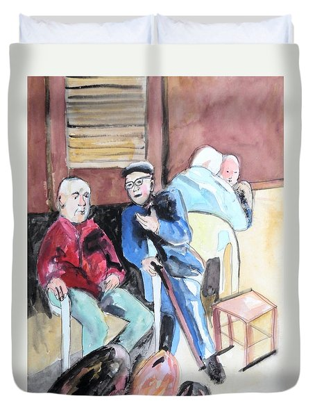 Duvet Cover featuring the painting The Market Parliament by Esther Newman-Cohen