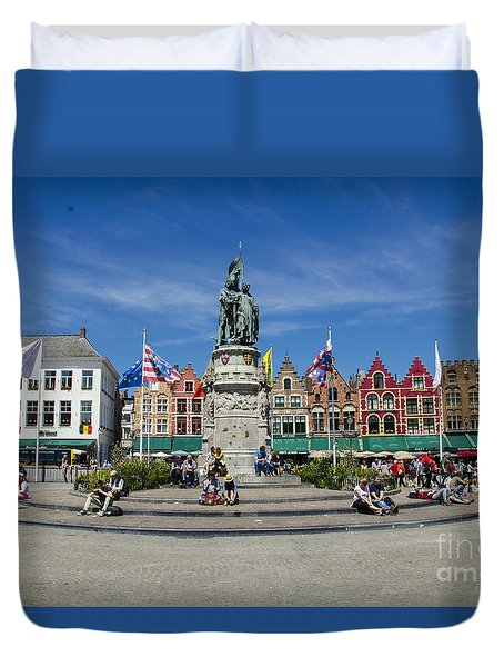 Duvet Cover featuring the photograph The Markt Of Bruges by Pravine Chester