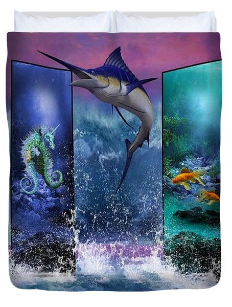The Marlin And His Sea Friends  Duvet Cover by Ali Oppy