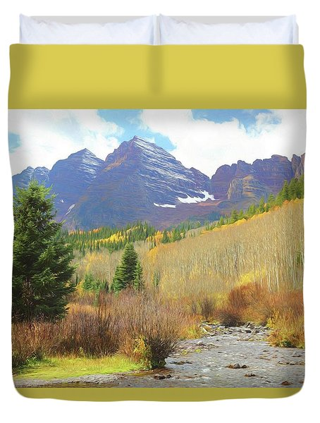 Duvet Cover featuring the photograph The Maroon Bells Reimagined 3 by Eric Glaser