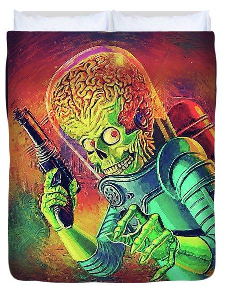 The Martian - Mars Attacks Duvet Cover by Taylan Apukovska