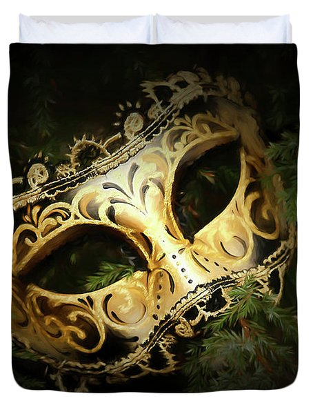 Duvet Cover featuring the photograph The Mask by Darren Fisher