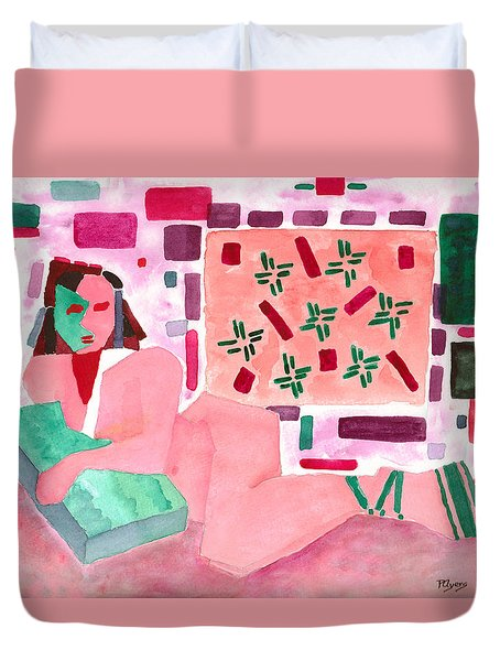 Duvet Cover featuring the painting The Mask by Paula Ayers