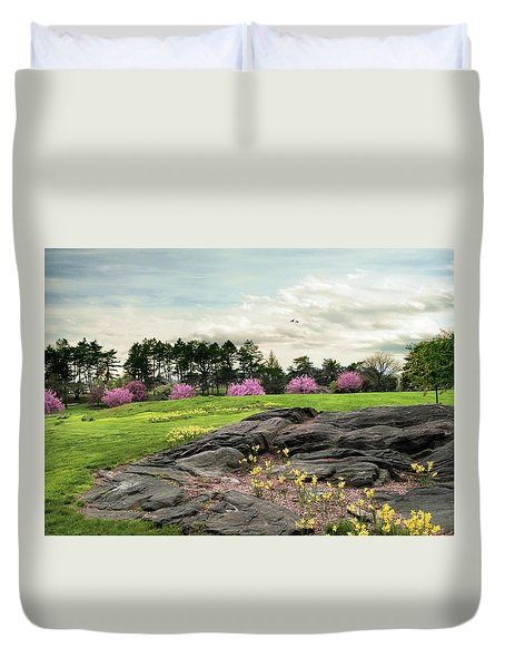 Duvet Cover featuring the photograph The Meadow Beyond by Jessica Jenney