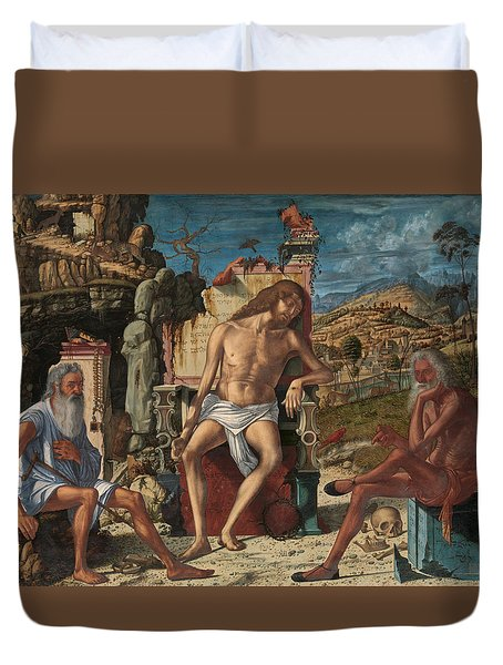 Duvet Cover featuring the painting The Meditation On The Passion by Vittore Carpaccio