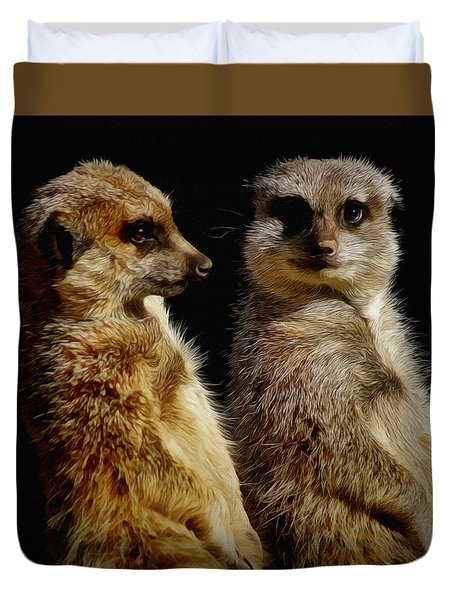 The Meerkats Duvet Cover by Ernie Echols