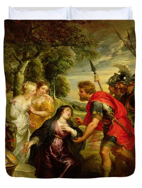 The Meeting Of David And Abigail Duvet Cover by Peter Paul Rubens