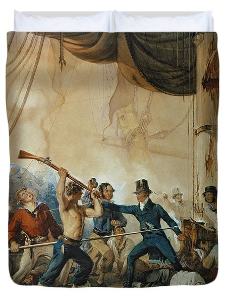 The Melee On Board The Chesapeake Duvet Cover by Anonymous