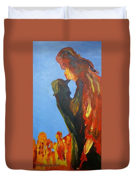 Duvet Cover featuring the painting The Melting by Geeta Biswas
