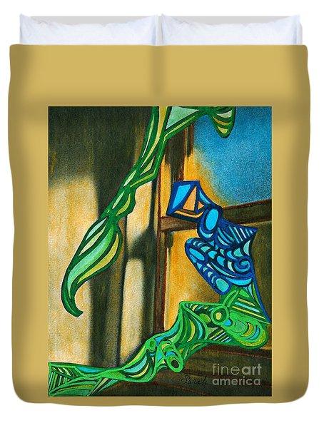 The Mermaid On The Window Sill Duvet Cover by Sarah Loft