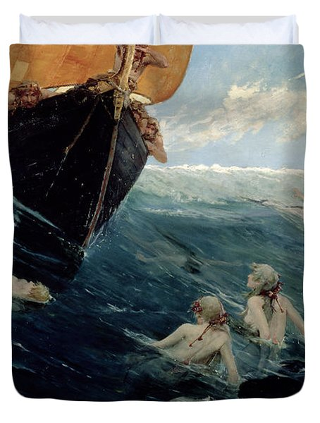The Mermaid's Rock Duvet Cover by Edward Matthew Hale