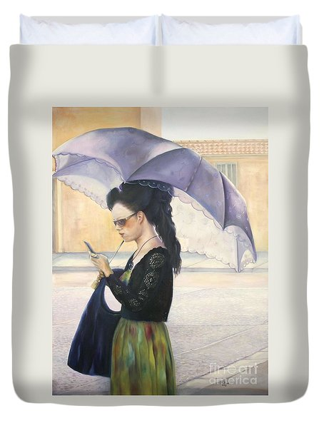 The Message Duvet Cover by Marlene Book