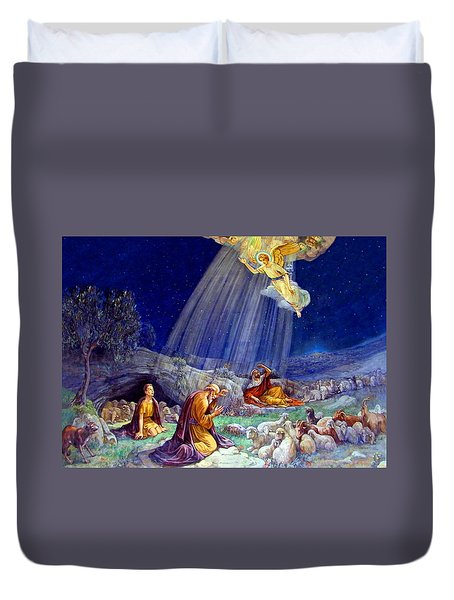 The Message To Shepherds Duvet Cover by Munir Alawi