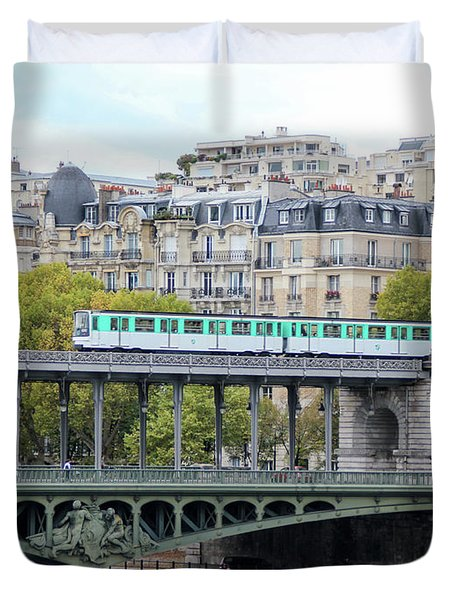 Duvet Cover featuring the photograph The Metro On The Bridge by Yoel Koskas