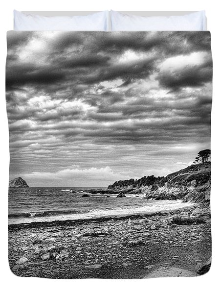 The Mewstone, Wembury Bay, Devon #view Duvet Cover by John Edwards