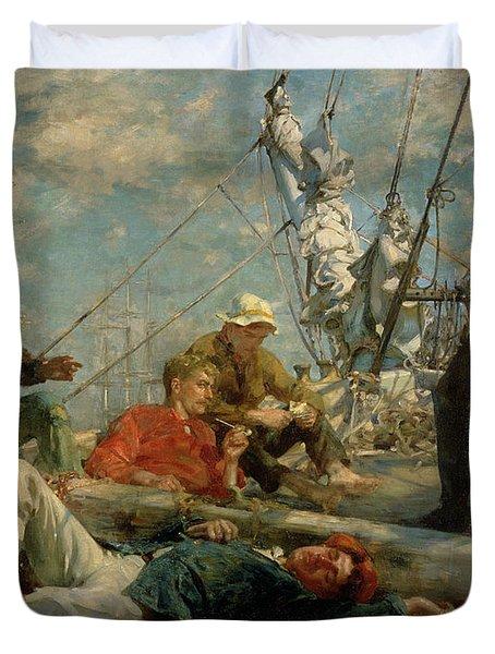 The Midday Rest Sailors Yarning Duvet Cover by Henry Scott Tuke