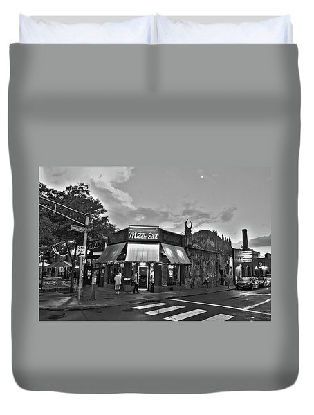 The Middle East In Central Square Cambridge Ma Black And White Duvet Cover
