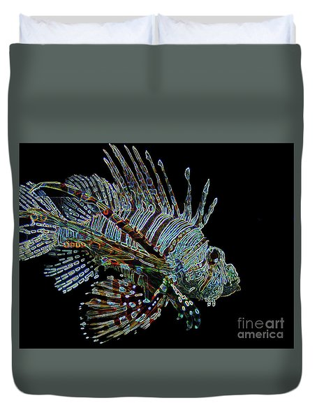 The Mighty Lion Fish Duvet Cover by Carol F Austin