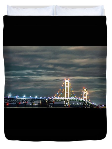 Duvet Cover featuring the photograph The Mighty Mack At Night by Onyonet  Photo Studios