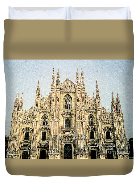 Duvet Cover featuring the photograph The Milan Cathedral - Italy by Merton Allen