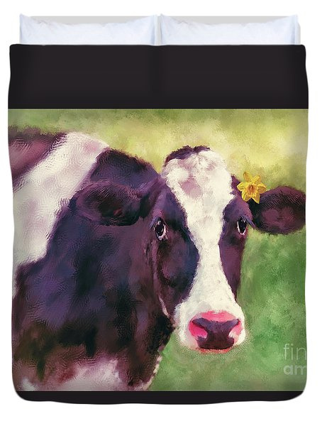 Duvet Cover featuring the photograph The Milk Maid by Lois Bryan