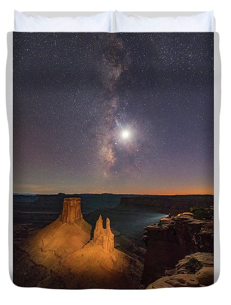 The Milky Way And The Moon From Marlboro Point Duvet Cover