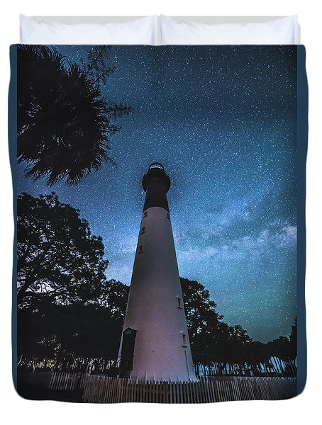 The Milky Way At Saint Helena Light House Duvet Cover