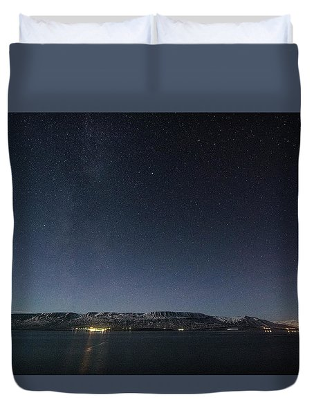 The Milky Way Over Northern Iceland Duvet Cover