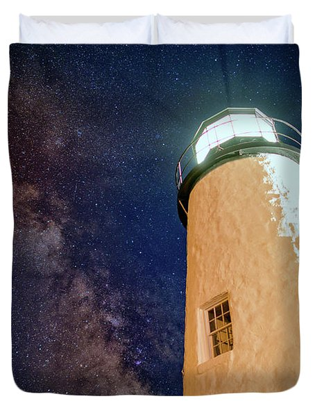 The Milky Way Over Pemaquid Point Duvet Cover by Rick Berk