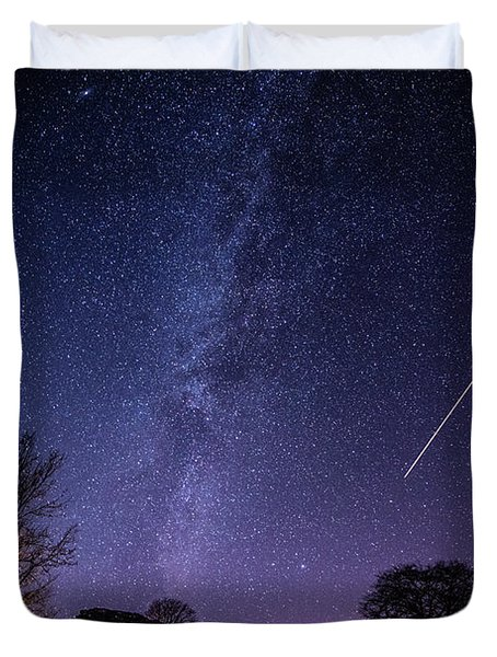 The Milky Way Over Strata Florida Abbey, Ceredigion Wales Uk Duvet Cover