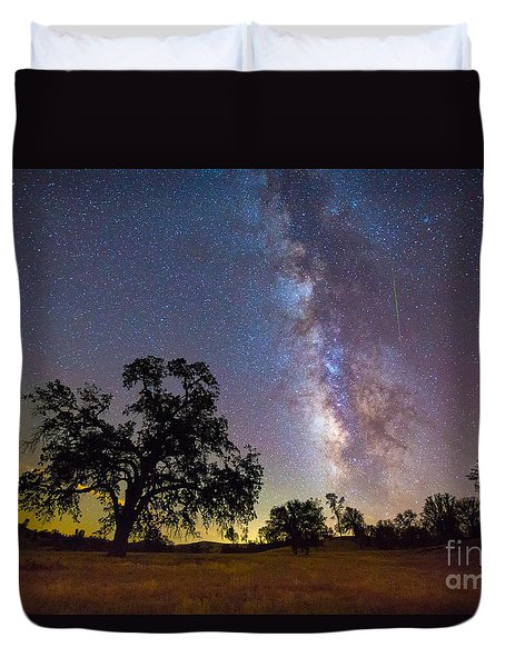 The Milky Way With One Perseid Meteor Duvet Cover