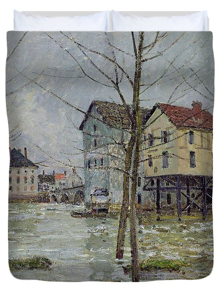 The Mills At Moret Sur Loing Duvet Cover by Alfred Sisley