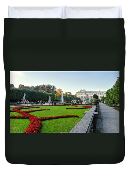 Duvet Cover featuring the photograph The Mirabell Palace In Salzburg by Silvia Bruno