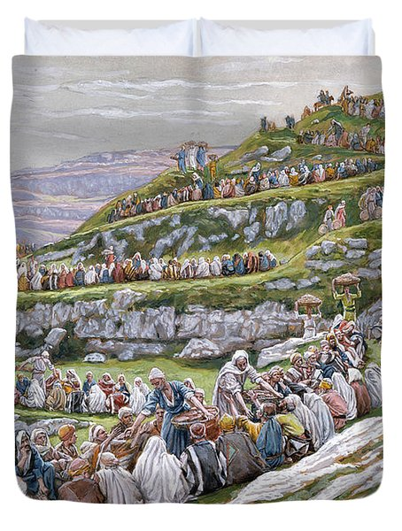 The Miracle Of The Loaves And Fishes Duvet Cover by Tissot