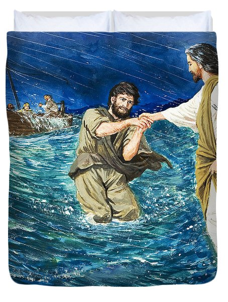 The Miracles Of Jesus Walking On Water  Duvet Cover