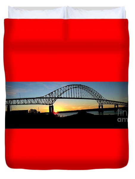 The Miramichi Bridge Sunset  Duvet Cover by Patricia L Davidson
