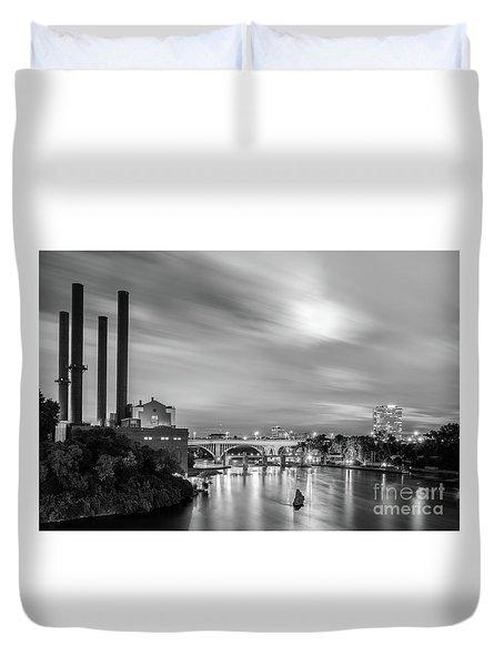 The Mississippi River Night Scene Duvet Cover