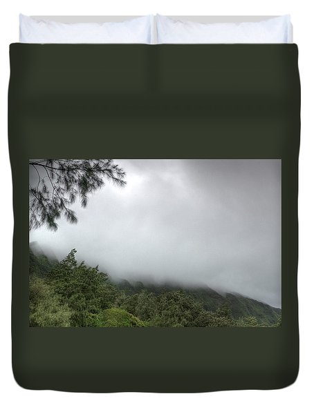 Duvet Cover featuring the photograph The Mist On The Mountain by Break The Silhouette