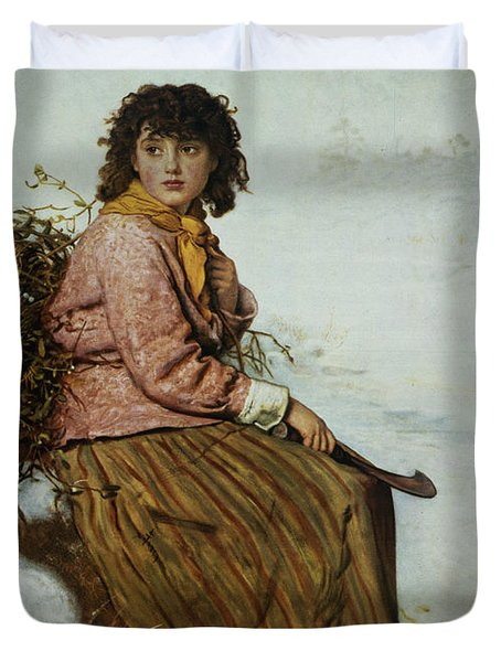 The Mistletoe Gatherer Duvet Cover by Sir John Everett Millais