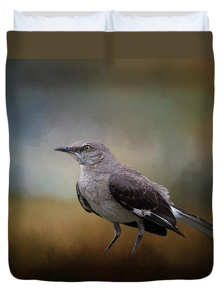 Duvet Cover featuring the photograph The Mockingbird A Bird Of Many Songs by David and Carol Kelly